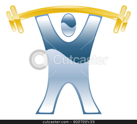 Strong weightlifting barbell illustration icon  stock vector clipart, Strong weightlifting barbell illustration icon  by Christos Georghiou