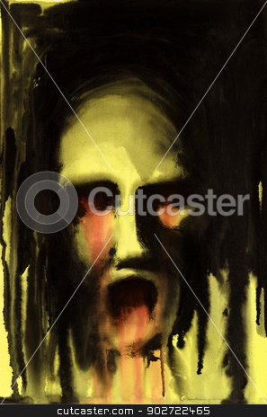horrible face stock photo, painting done by me showing a horrible bleeeding face in yellow ambiance by prill