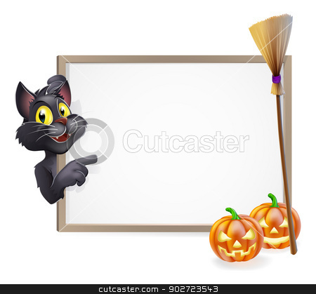 Witch Cat Halloween Sign stock vector clipart, Illustration of a Halloween black witch's cat sign background by Christos Georghiou