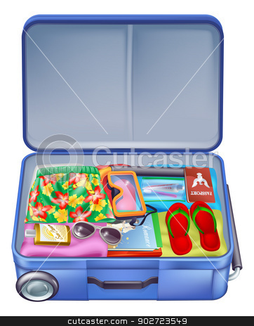 Full holiday vacation suitcase stock vector clipart, Illustration of a full holiday vacation suitcase with all the essentials like summer clothing, sunglasses, sun cream, books and of course a passport by Christos Georghiou