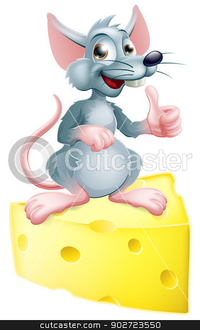 Mouse and cheese stock vector clipart, An illustration of a happy cartoon mouse or rat that has got the cheese, giving a thumbs up. by Christos Georghiou