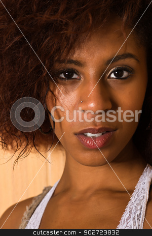 White lace stock photo, Pretty petite black woman in a white lace blouse by Harris Shiffman
