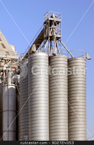 cereal industry stock photo, factory for the processing of cereals for food for cattle by Cochonneau