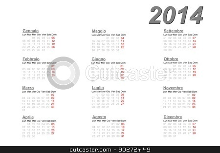 Italian calendar for 2014 stock photo, Italian calendar for 2014 on white background by Elenarts