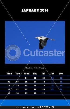 Bird calendar for 2014 - january stock photo, Colorful english calendar for january 2014 in black background, grey heron (ardea cinerea) picture by Elenarts