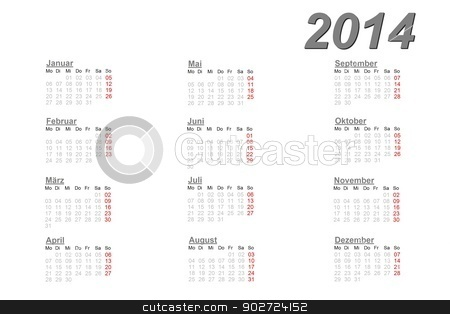 German calendar for 2014 stock photo, German calendar for 2014 on white background by Elenarts