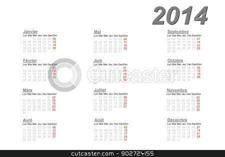 French calendar for 2014 stock photo, French calendar for 2014 on white background by Elenarts
