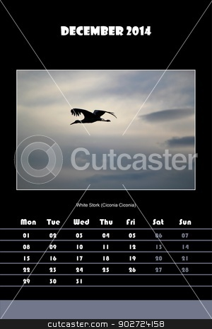 Bird calendar for 2014 - december stock photo, Colorful english calendar for december 2014 in black background, white stork (ciconia ciconia) picture by Elenarts