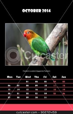 Bird calendar for 2014 - october stock photo, Colorful english calendar for october 2014 in black background, fischer's lovebird (agapornis fischeri) picture by Elenarts