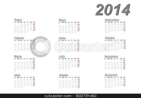 Spanish calendar for 2014 stock photo, Spanish calendar for 2014 on white background by Elenarts
