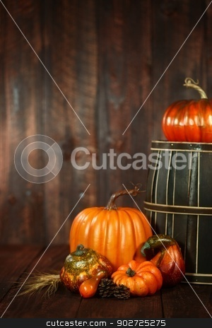 Fall Themed Scene With Pumpkins on Wood  stock photo, Rustic Fall Themed Scene With Pumpkins on Wood Grunge Background by Katrina Brown