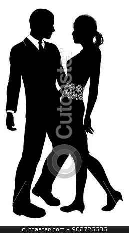 Attractive Couple Silhouette stock vector clipart, Fashion design silhouette of an attractive young couple embracing by Christos Georghiou
