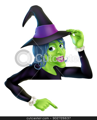 Halloween witch pointing stock vector clipart, An illustration of a cartoon witch on top of banner pointing down at the message by Christos Georghiou