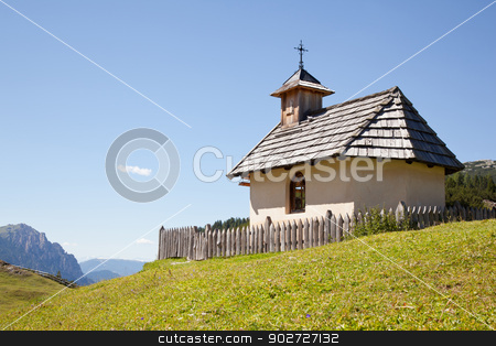 small chapel in the mountains in italy stock photo, small chapel in the dolomites in italy near cortina d'ampezzo with wooden roof tiles by anton havelaar