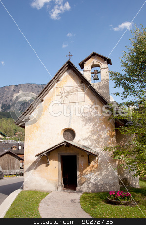 small old catholic church in cortina d'ampezzo stock photo, small old catholic church in cortina d'ampezzo in the italian dolomites by anton havelaar