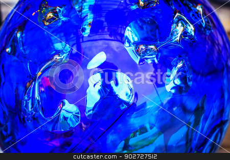 Blue Crystal Glass Abstract stock photo, Blue Crystal Glass Abstract  by William Perry