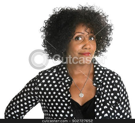 Determined Woman in Polka Dot stock photo, Determined pretty woman in polka dot on isolated  background by Scott Griessel