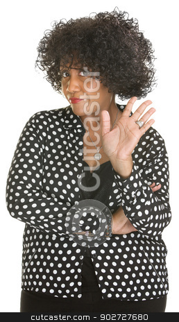 Insulted Woman Waving stock photo, Insulted mature lady in polka dot over white background by Scott Griessel