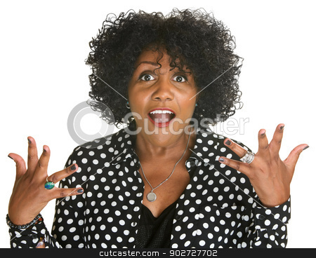 Emotional Woman stock photo, Emotional woman with hand expressions on isolated background by Scott Griessel