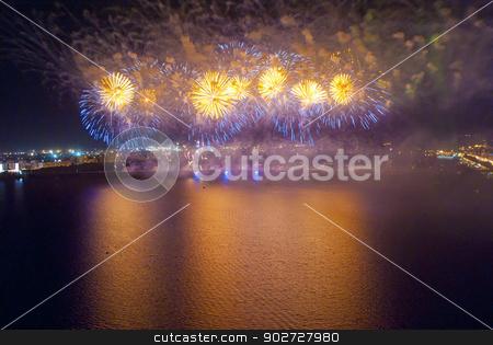 Fireworks on quay stock photo, Fireworks on quay by Alexey Kozak