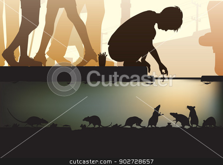 City sewer stock vector clipart, Editable vector illustration of a young boy feeding rats in a city sewer made using a gradient mesh by Robert Adrian Hillman
