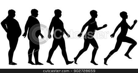 Fat to fit stock vector clipart, Editable vector silhouette sequence of a man losing weight and gaining fitness through exercise by Robert Adrian Hillman