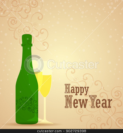 Happy new year stock vector clipart, Retro background for happy new year by Miroslava Hlavacova