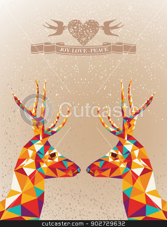 Merry Christmas colorful reindeers shape. stock vector clipart, Trendy Christmas colorful reindeers transparent geometric elements grunge background. Vector file layered for easy editing. by Cienpies Design