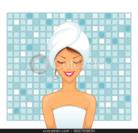 Young woman in bathroom stock vector clipart, Vector illustration of Young woman in bathroom by SonneOn
