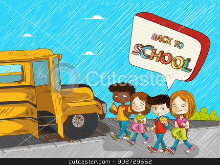 Back to school kids education cartoon illustration. stock vector clipart, Colorful Back to school kids with school bus and social speech bubble cartoon illustration. Vector file layered for easy personalization. by Cienpies Design