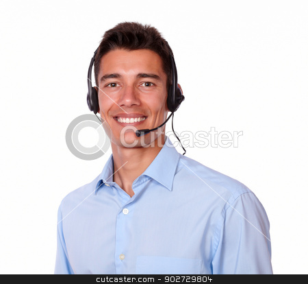 Adult charismatic man with headphones smiling stock photo, A portrait of a adult charismatic man with headphones smiling while looking at you on isolated background by pablocalvog