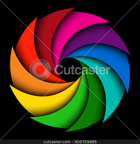 Colorful rainbow swirl stock vector clipart, Colorful rainbow swirl on black background, Abstract color background by kurkalukas