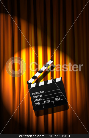 Movie clapper board against curtain stock photo, Movie clapper board against curtain by Elnur