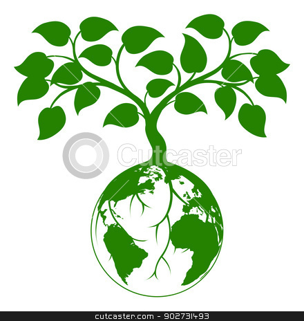 Earth tree graphic stock vector clipart, Illustration of a tree growing with its roots round the earth or growing out of the earth by Christos Georghiou