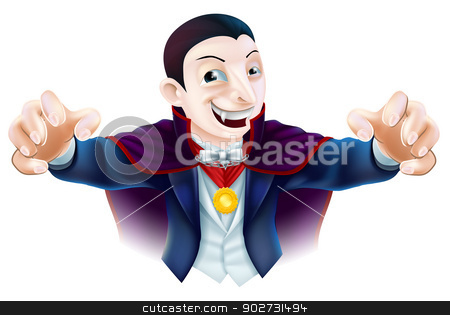 Halloween Cartoon Dracula stock vector clipart, An illustration of a cute cartoon Count Dracula vampire character for Halloween by Christos Georghiou