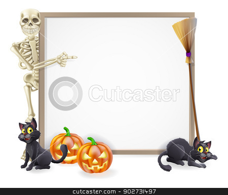 Halloween Skeleton Sign stock vector clipart, Halloween sign or banner with orange Halloween pumpkins and black witch's cats, witch's broom stick and cartoon skeleton character by Christos Georghiou