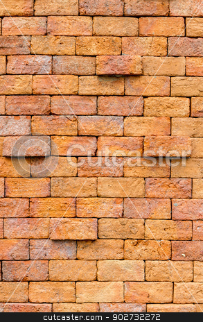 Red brick wall background stock photo, Red brick wall background by Bunwit
