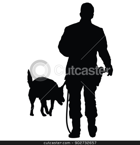 Police Dog 3 stock vector clipart, Silhouette of a police officer training with his dog partner  by Maria Bell