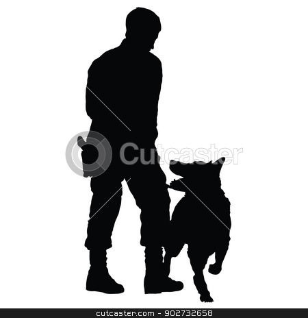 Police Dog 4 stock vector clipart, Silhouette of a police officer training with his dog partner  by Maria Bell