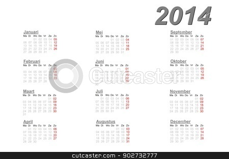 Dutch calendar for 2014 stock photo, Dutch calendar for 2014 on white background by Elenarts