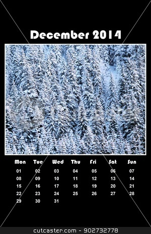 Nature calendar for 2014 - december stock photo, Colorful english calendar for december 2014 in black background, fir trees forest covered with snow by Elenarts