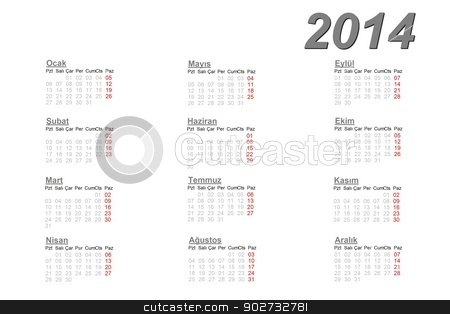 Turkish calendar for 2014 stock photo, Turkish calendar for 2014 on white background by Elenarts