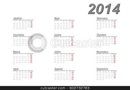Portuguese calendar for 2014 stock photo, Portuguese calendar for 2014 on white background by Elenarts