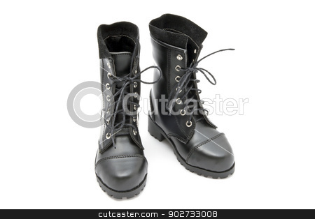 Fashion Boots stock photo, Black fashion boots isolated on white background by Sasas Design