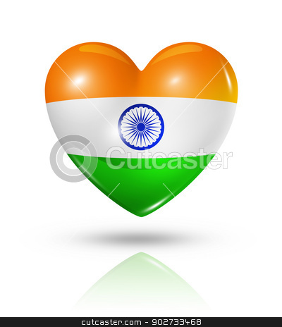 Love India, heart flag icon stock photo, Love India symbol. 3D heart flag icon isolated on white with clipping path by Laurent Davoust