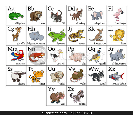 Cartoon Animal Alphabet Chart stock vector clipart, Cartoon animal alphabet learning chart with a cartoon animal illustration for each letter and upper and lowercase letters and animal names by Christos Georghiou