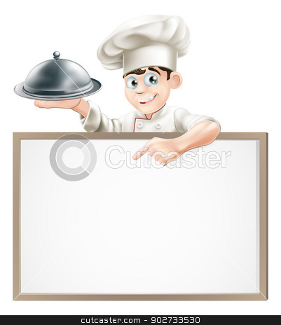 Cartoon chef with cloche and menu stock vector clipart, A cartoon chef holding a silver platter or cloche pointing at a banner or menu by Christos Georghiou