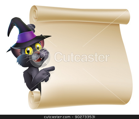 Halloween Witch Cat Scroll stock vector clipart, Cartoon Halloween black cat wearing witch hat  peeping round a scroll sign and pointing at what is written on it. by Christos Georghiou