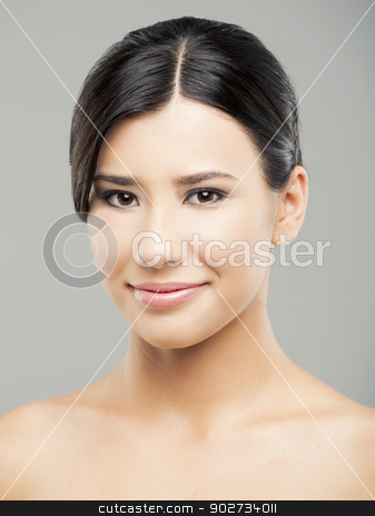 Beauty stock photo, Beauty portrait of young asian woman smiling, over a gray background. by ikostudio