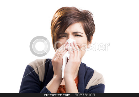 Sick woman stock photo, Portrait of a woman with flu, isolated over a white background by ikostudio